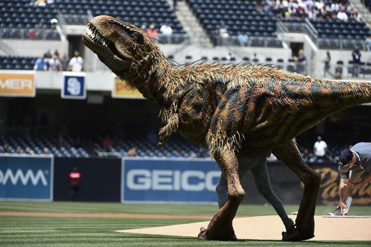 T-Rex-First-Pitch-Padres
