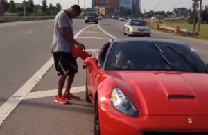 Evan-Turner-Ferrari-Runs-Out-Of-Gas-On-Highway