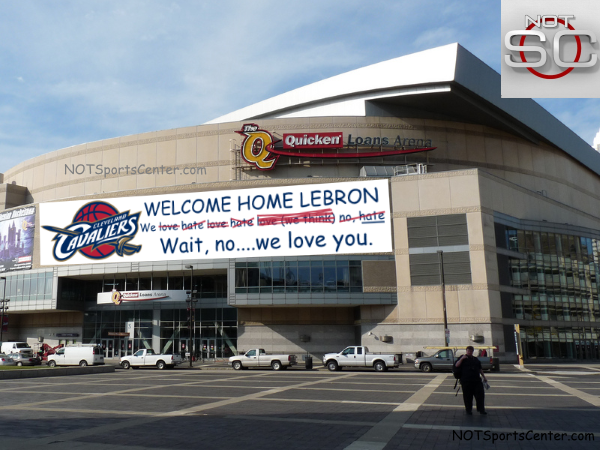 New-Welcome-Home-LeBron-banner-outside-Cavs-arena